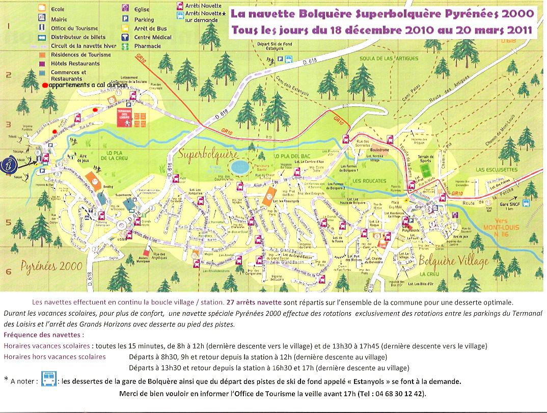 plan detaillé de p2000 avec trajet des navettes et position des appartements